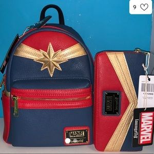 NWT Loungefly Captain Marvel Backpack & Wallet 🔥